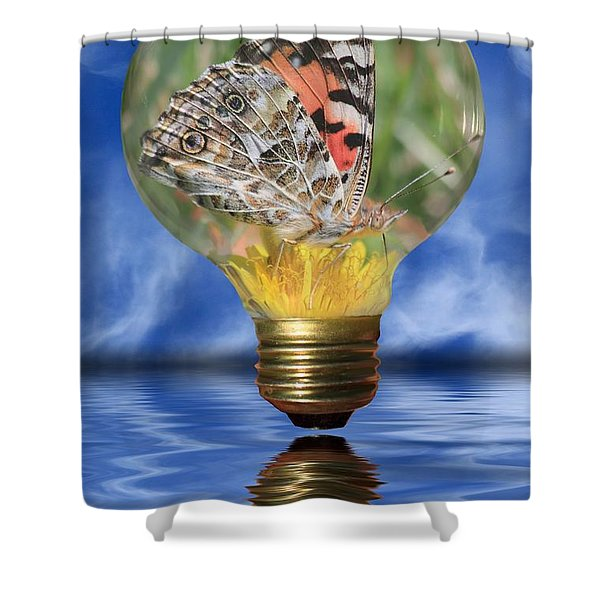 Butterfly In Lightbulb Shower Curtain by Shane Bechler