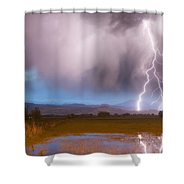 C2G Lightning Bolts Striking Longs Peak Foothills 6 Shower Curtain by James BO  Insogna