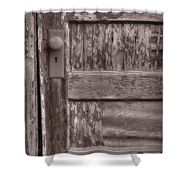 Cabin Door BW Shower Curtain by Steve Gadomski
