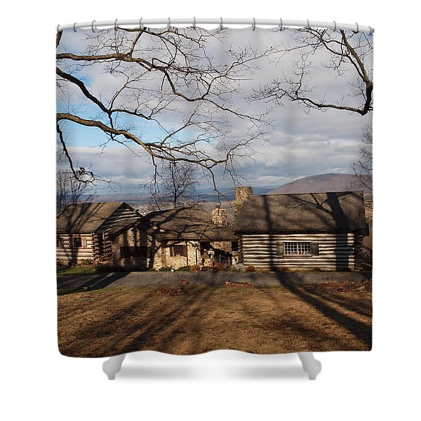 cabin in the woods Shower Curtain by Robert Margetts