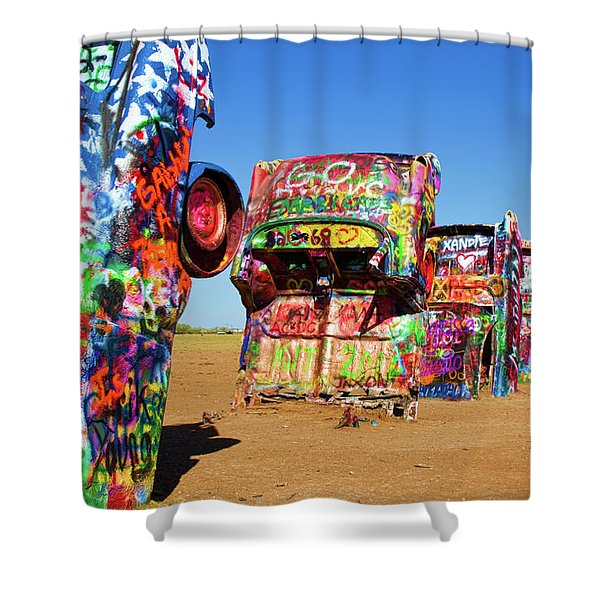 Cadillac Ranch 2 Shower Curtain by Lana Trussell