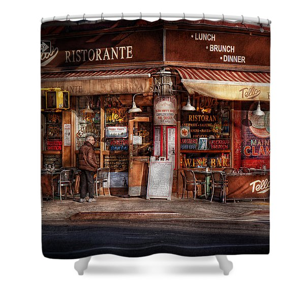 Cafe - Ny - Chelsea - Tello Ristorante Shower Curtain by Mike Savad