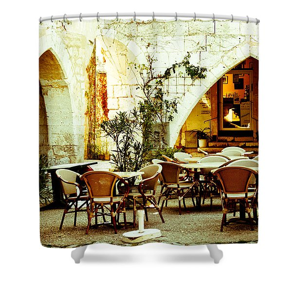 Cafe France Shower Curtain by Nomad Art And  Design