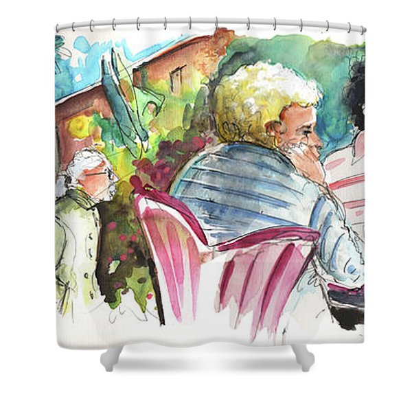 Cafe Life In Spain 03 Shower Curtain by Miki De Goodaboom