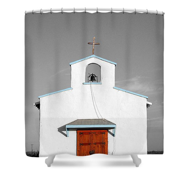 Calera Mission Chapel Facade in West Texas Color Splash Black and White Shower Curtain by Shawn O'Brien