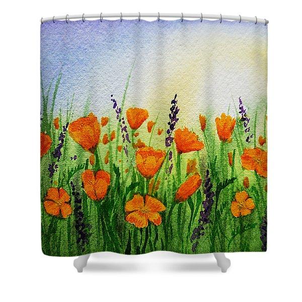 California Poppies Field Shower Curtain by Irina Sztukowski