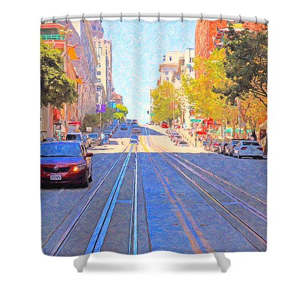 California Street In San Francisco Looking Up Towards Chinatown 2 Shower Curtain by Wingsdomain Art and Photography