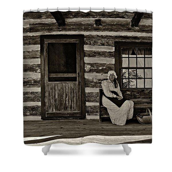 Canadian Gothic sepia Shower Curtain by Steve Harrington