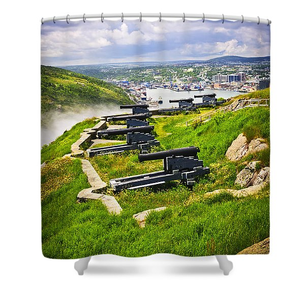 Cannons on Signal Hill near St. John's Shower Curtain by Elena Elisseeva