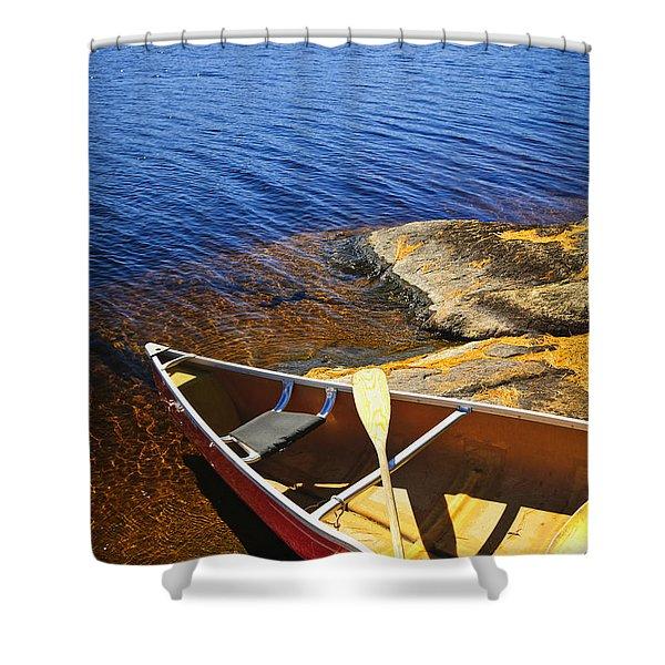 Canoe On Shore Shower Curtain by Elena Elisseeva