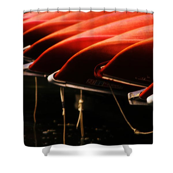 Canoes Of Red Shower Curtain by Bob Christopher