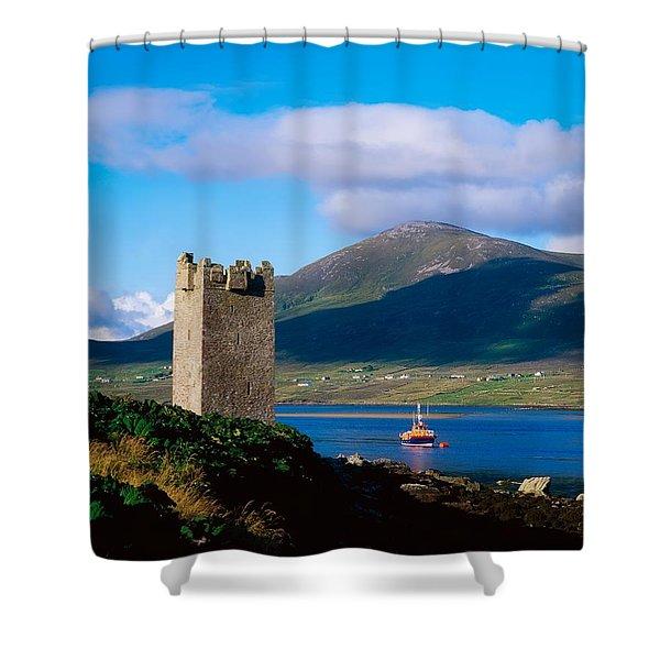 Carrickkildavnet Castle, Achill Island Shower Curtain by The Irish Image Collection