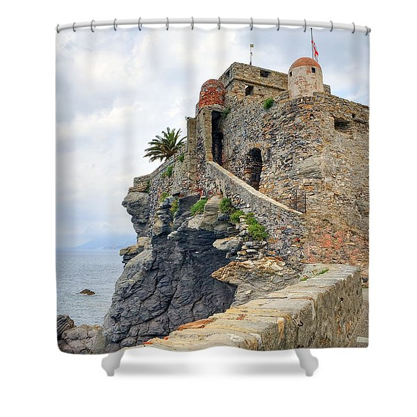 Castello della Dragonara in Camogli Shower Curtain by Joana Kruse
