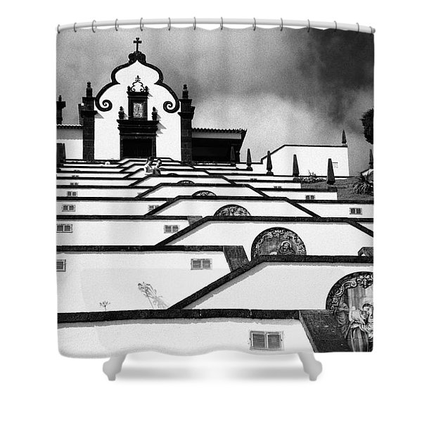 Chapel In Azores Shower Curtain by Gaspar Avila