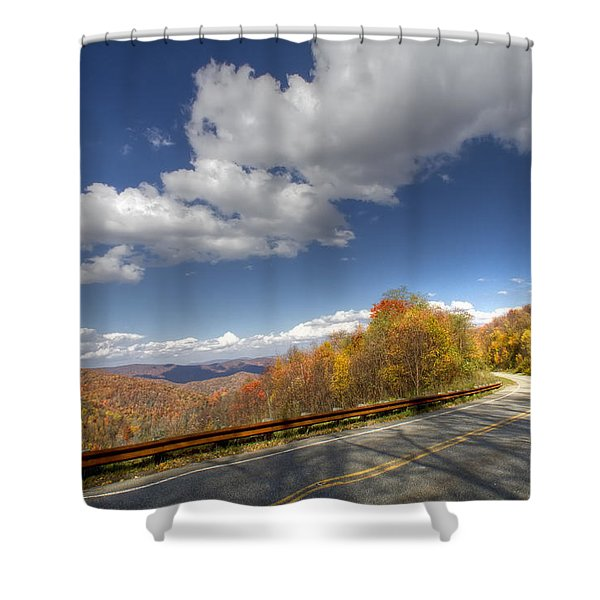 Cherohala Skyway Shower Curtain by Debra and Dave Vanderlaan