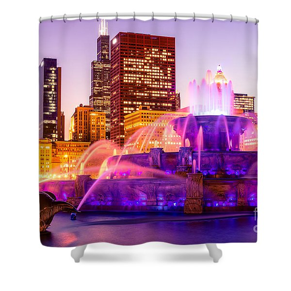 Chicago at Night with Buckingham Fountain Shower Curtain by Paul Velgos