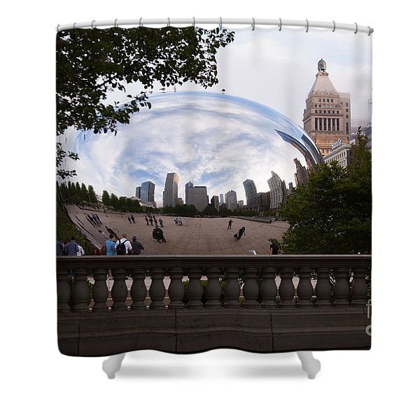 Chicago Cloud Gate Bean Sculpture Shower Curtain by Paul Velgos