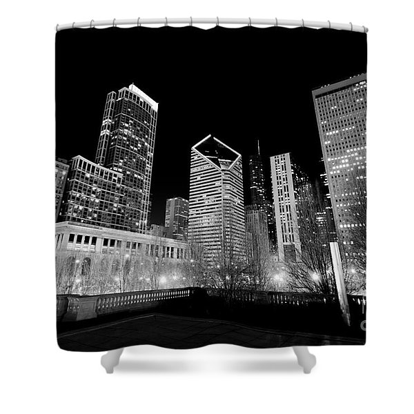 Chicago Downtown at Night  Shower Curtain by Paul Velgos