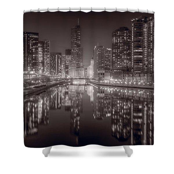Chicago River East BW Shower Curtain by Steve Gadomski