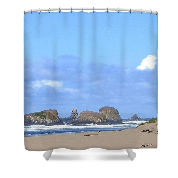 Chimneys Of Cannon Beach Shower Curtain by Will Borden
