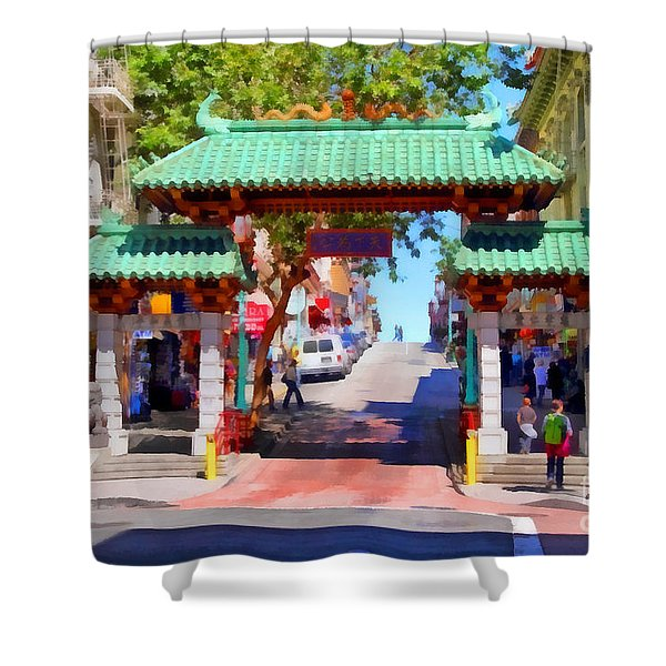 Chinatown Gate In San Francisco . 7D7139 Shower Curtain by Wingsdomain Art and Photography