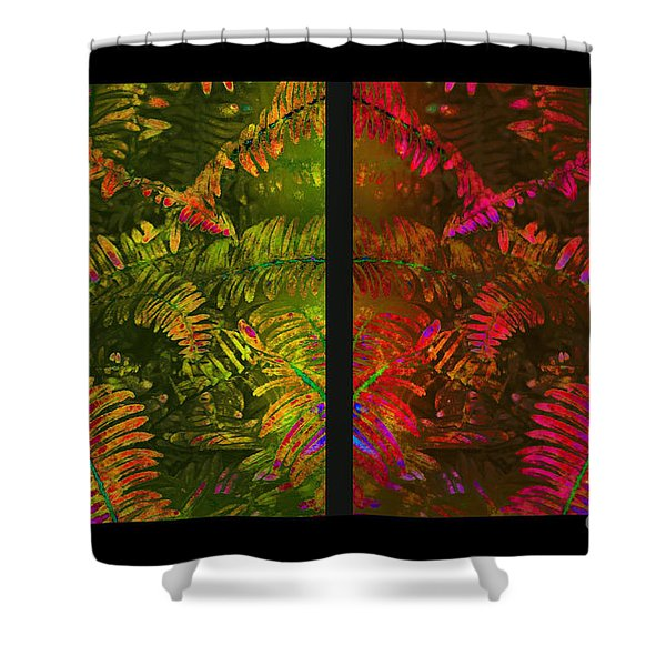 Christmas Fern Diptych Shower Curtain by Judi Bagwell