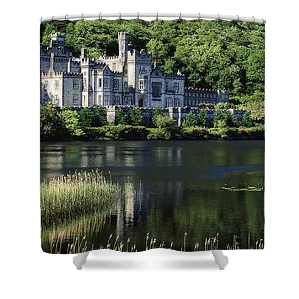 Church Near A Lake, Kylemore Abbey Shower Curtain by The Irish Image Collection