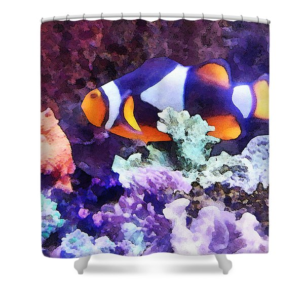 Clownfish And Coral Shower Curtain by Susan Savad