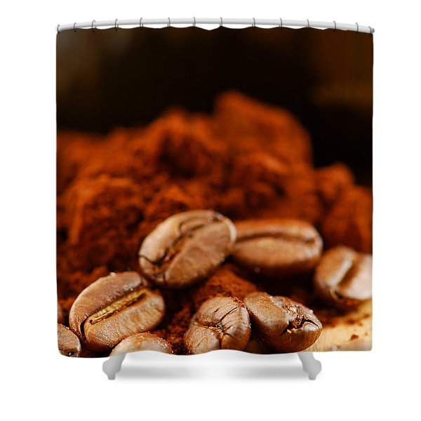 Coffee Beans And Ground Coffee Shower Curtain by Elena Elisseeva