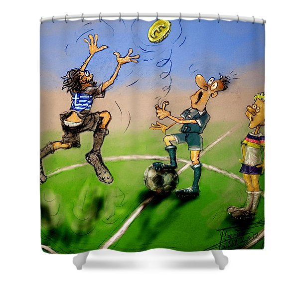 Coin Toss Shower Curtain by Ylli Haruni