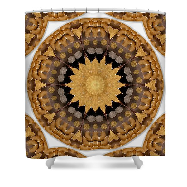 coins and love con pasta Shower Curtain by Pepita Selles
