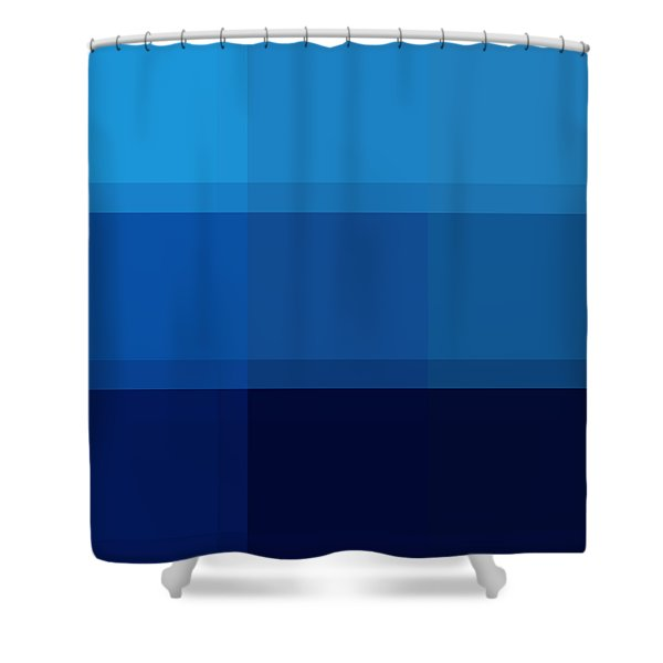 COLOR BLOCK Dark Blues by MADART Shower Curtain by Megan Duncanson