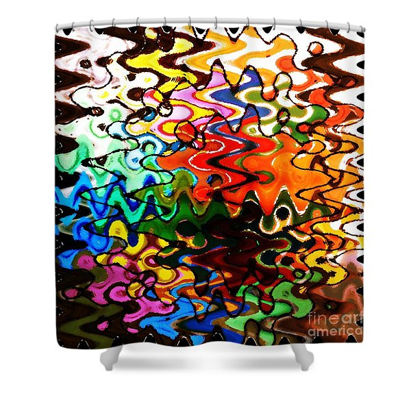 Colorful Abstract Design Square Shower Curtain by Carol Groenen
