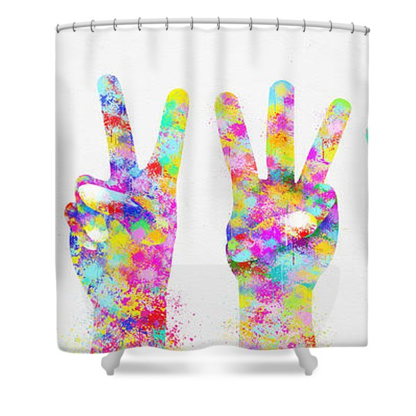 colorful painting of hands number 0-5 Shower Curtain by Setsiri Silapasuwanchai