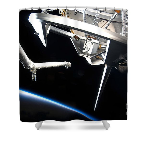 Components Of Space Shuttle Discovery Shower Curtain by Stocktrek Images