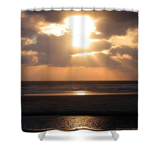 Copper Sunset Stroll Shower Curtain by Will Borden