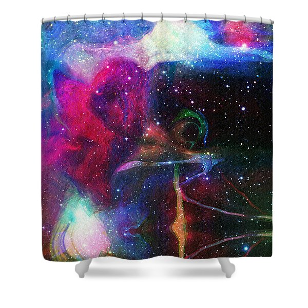 Cosmic Connection Shower Curtain by Linda Sannuti
