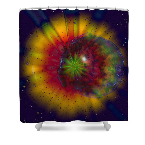 Cosmic Light Shower Curtain by Linda Sannuti