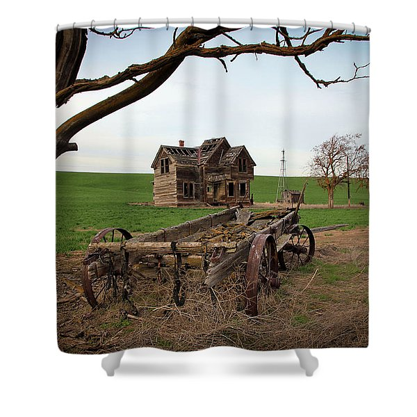 Country Home and Wagon Shower Curtain by Athena Mckinzie