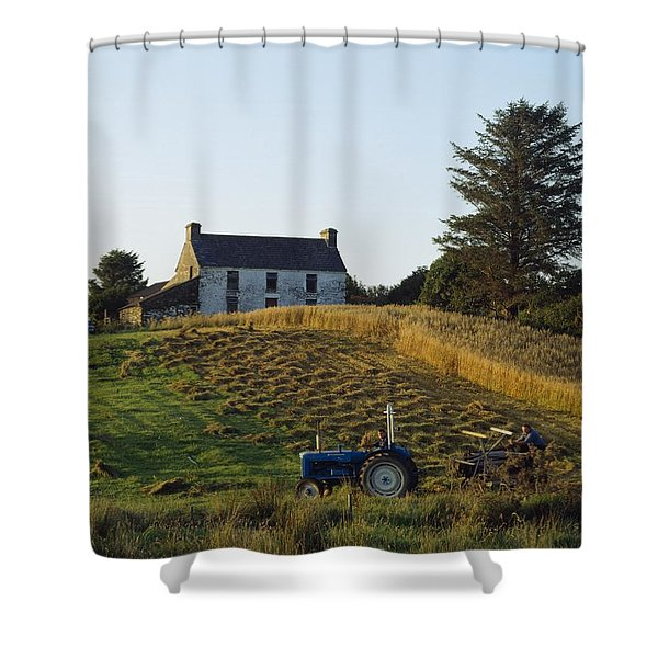 County Cork, Ireland Farmer On Tractor Shower Curtain by Ken Welsh