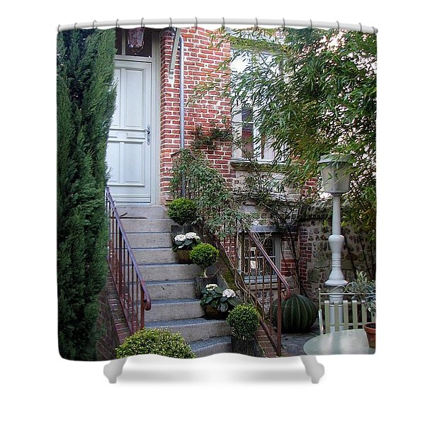 Courtyard In Honfleur Shower Curtain by Carla Parris