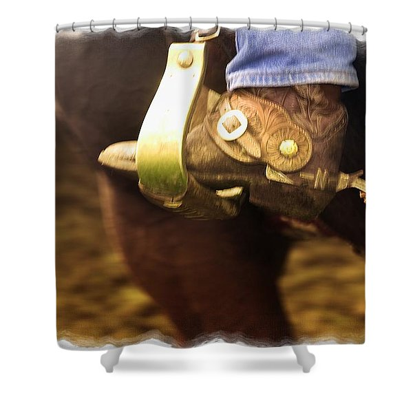 Cowboy Boot Shower Curtain by Carson Ganci