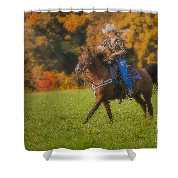 Cowgirl Shower Curtain by Susan Candelario