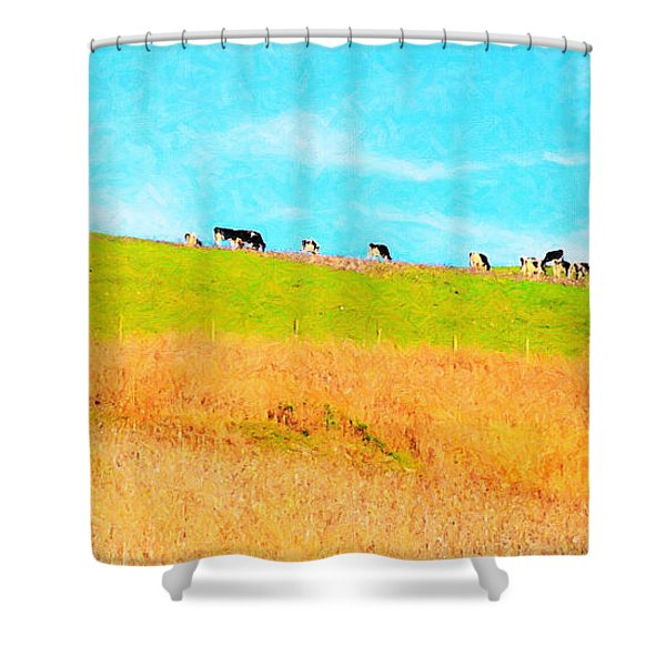 Cows On A Hill . 40D3430 . Painterly . Long Cut Shower Curtain by Wingsdomain Art and Photography