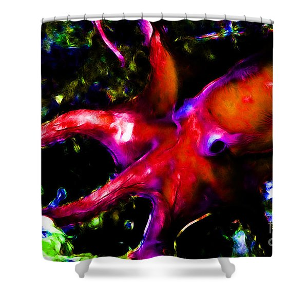 Creatures of The Deep - The Octopus - v3 - Electric - Orange Shower Curtain by Wingsdomain Art and Photography