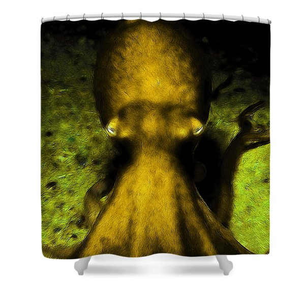 Creatures of The Deep - The Octopus - v4 - Gold Shower Curtain by Wingsdomain Art and Photography