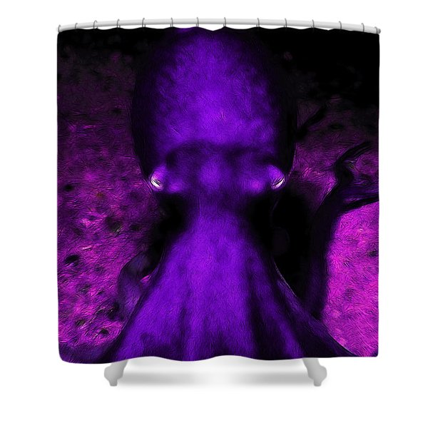 Creatures of The Deep - The Octopus - v4 - Purple Shower Curtain by Wingsdomain Art and Photography