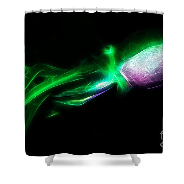 Creatures of The Deep - The Octopus - v5 - Electric - Green Shower Curtain by Wingsdomain Art and Photography