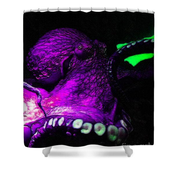Creatures Of The Deep - The Octopus - V6 - Violet Shower Curtain by Wingsdomain Art and Photography