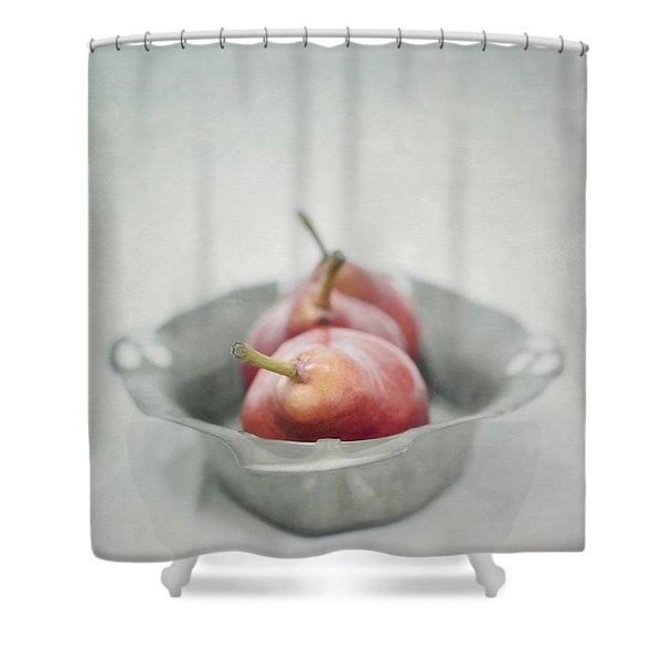 crimson and silver Shower Curtain by Priska Wettstein